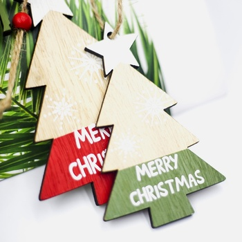 2PCS Christmas Hanging Decoration Coloured Drawing Wooden Hanging Decoration For Christmas Tree image