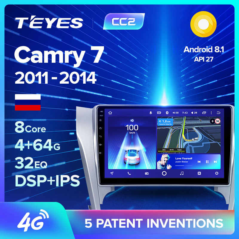 Teyes CC2 Voor Toyota Camry 7 Xv 50 55 2011 2012 2013 2014 Auto Radio Multimedia Video Player Navigatie Gps android 8.1 Geen 2din