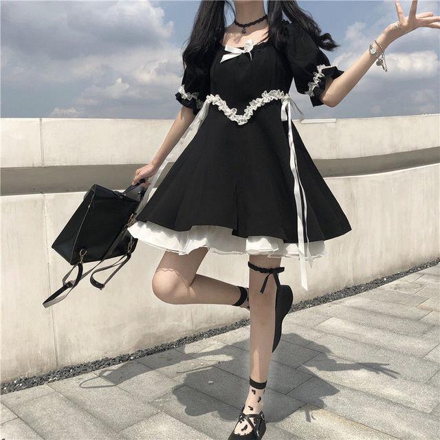 QWEEK Gothic Lolita Dress Soft Girls Sweet Lolita Style Kawaii Cute Lace-up Puff Sleeve Dress Princess Fairy Goth Dress 2021 5