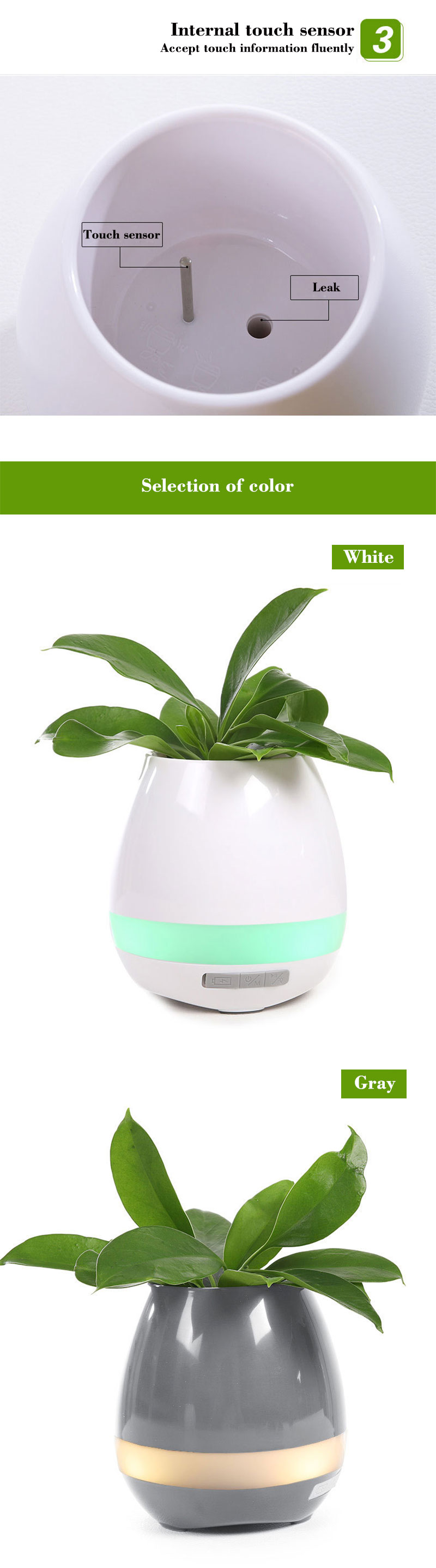 Bluetooth Speakers Music Flowerpot Smart Plant Pots 3