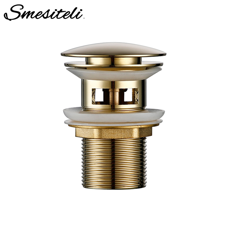 Smesiteli Bathroom Drain Polished Gold Stainless Steel Water Pipe Threaded Perforated Kitchen Sink Plug