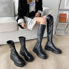 أحذية نسائية أحذية للسيدات موضة خريفية الانزلاق على الكاحل منتصف العجل منصة عدم الانزلاق بو الجلود الناعمة الجديدة الأحذية امرأة