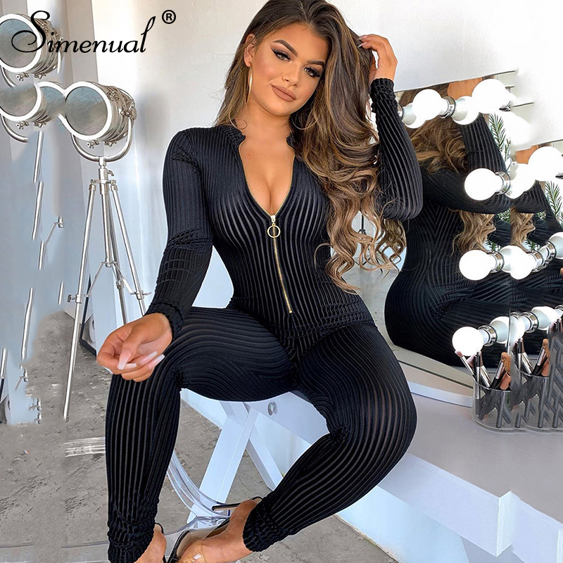Simenual Ribbed Zipper Skinny V Neck Rompers Womens   Jumpsuit   Fashion Bodycon Sexy Hot Long Sleeve Solid 2020 Spring   Jumpsuits