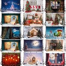 Рождественский фон для фотосъемки камин Рождественская елка Санта Клаус фон для фотостудии красный носок деревянная стена фотосессия
