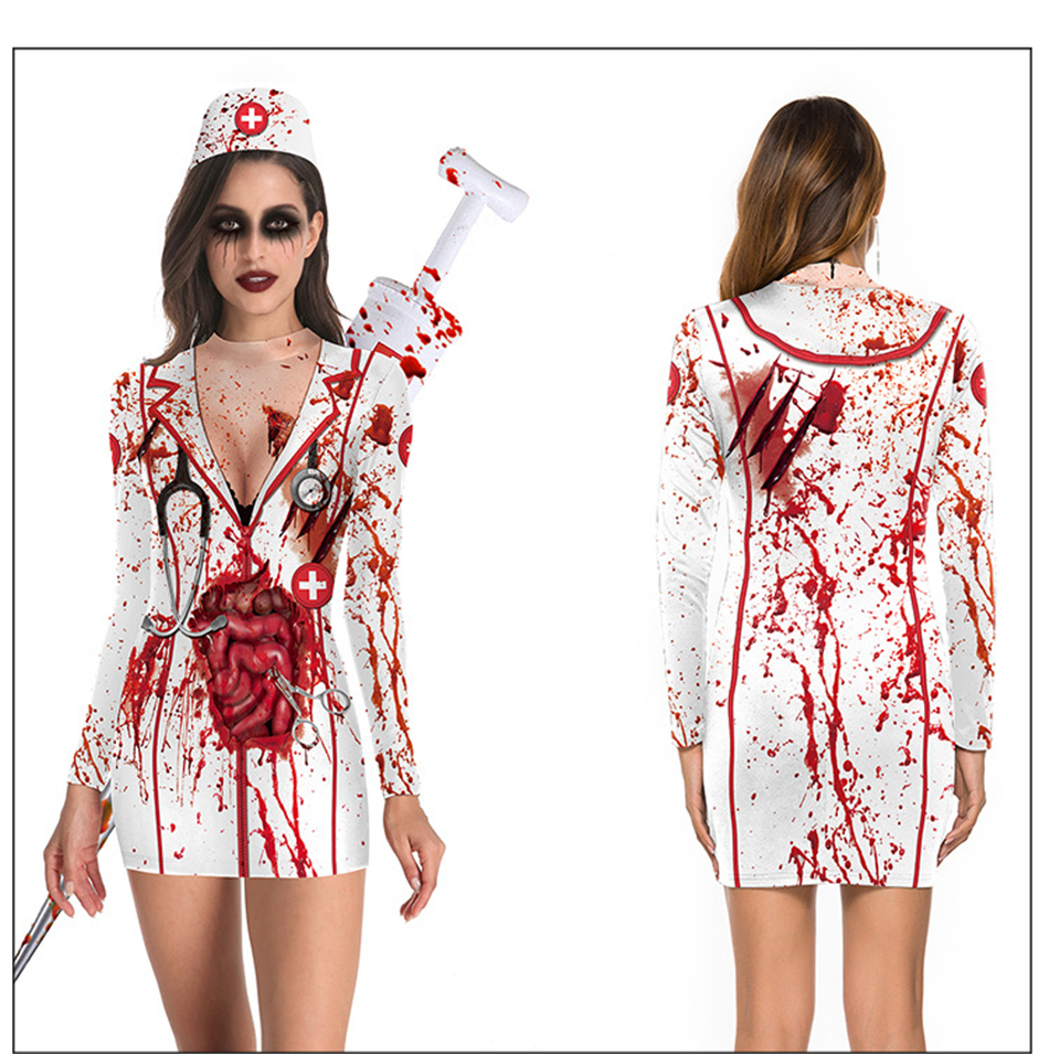 H25de8ae93ca241bab05d4f9275395febK - New Helloween Cosplay Scary Costume Dress for Adult Skeleton Bodysuit Carnival Party Performance Devil Hospital Ghost Women