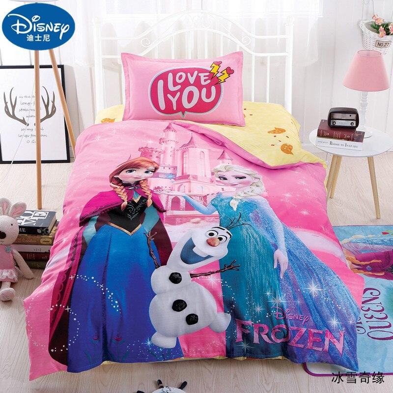 Disney 3 pièces 100% coton enfants ensembles de literie fille reine des neiges princesse dessin animé housse de couette taie d'oreiller drap de lit linge de lit ensemble de literie