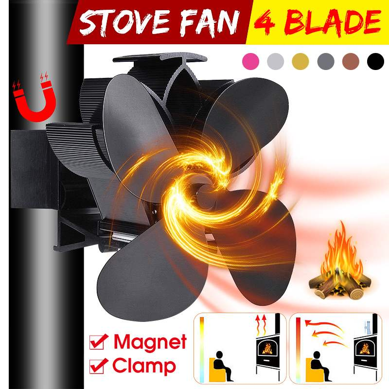 Mouted Black Fireplace 4 Blade Heat Powered Stove Fan Komin Log Wood Burner Eco Friendly Quiet Fan Home Efficient Heat Distribut