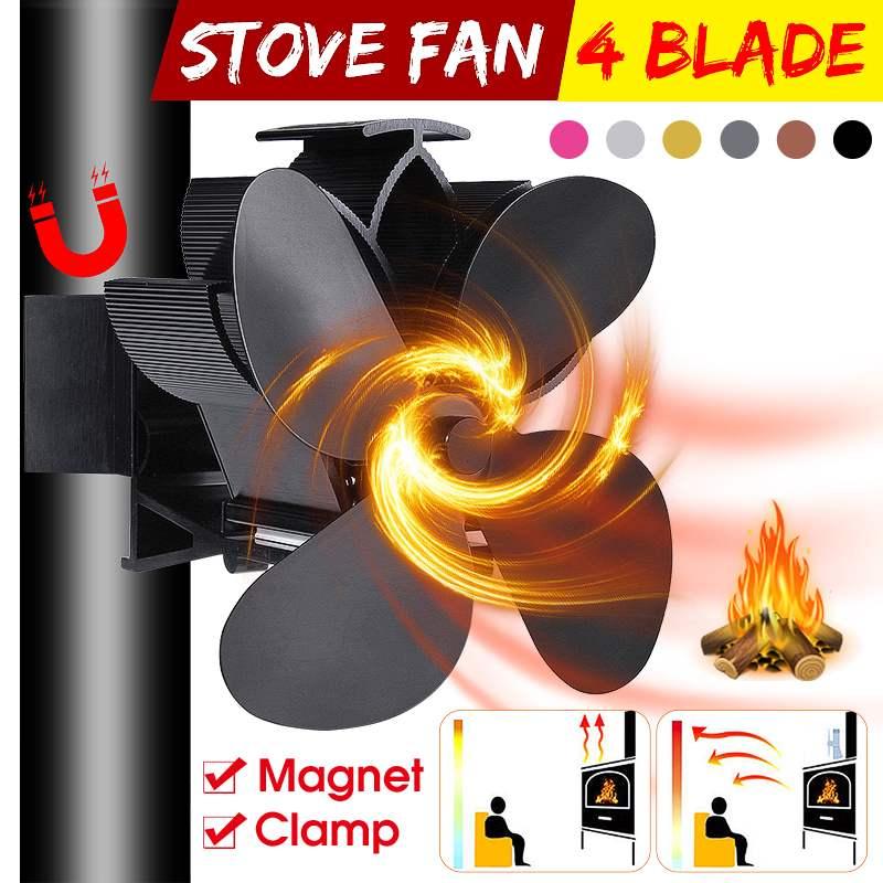 Mouted Black Fireplace 4 Blade Heat Powered Stove Fan Komin Log Wood Burner Eco Friendly Quiet Fan Home Efficient Heat Distribut