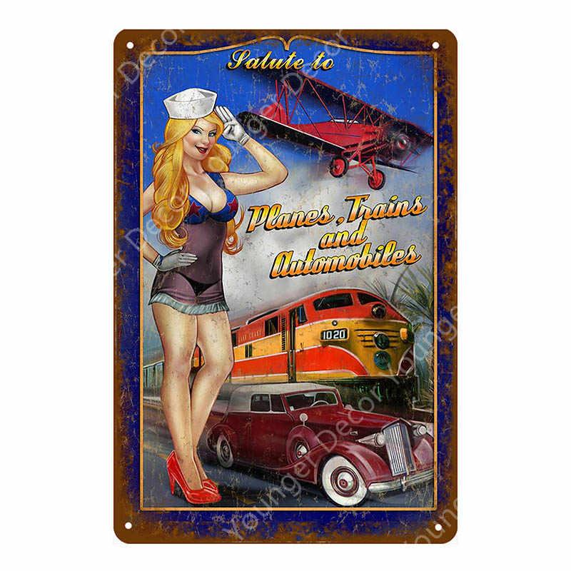 Винтажная сексуальная девушка металлические знаки Соблазнительная девушка с легковой автомобиль автобус грузовик постер с поездом гараж украшение для стен, для бара паба клуб человек пещера ретро-табличка