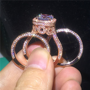 Женское Обручальное Кольцо AAAAA, Винтажное кольцо из стерлингового серебра 925 пробы с розовым золотом 18 К, вечерние ювелирные изделия
