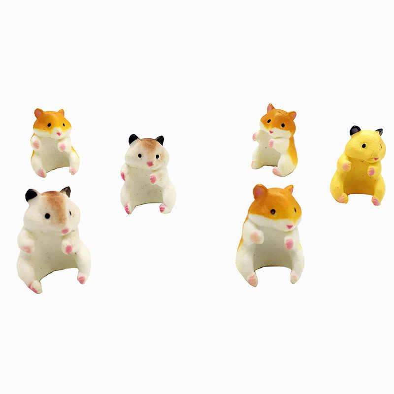 5 ピース/セットハムスター形状アクションフィギュアかわいい動物ハムスターフィギュアのおもちゃマグティーバッグホルダーの装飾