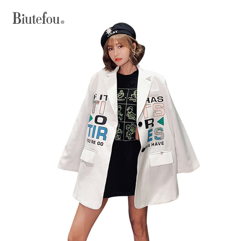2020 Spring Fashion V-neck Jackets Cartoon Sequins Women Chic Blazers