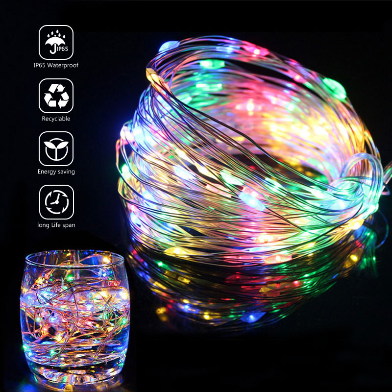 Led-String-Light Garland-Decoration Copper-Wire Wedding Usb/battery-Operated 10M 5M 2M Garden Party Decorations Bedroom Wedding