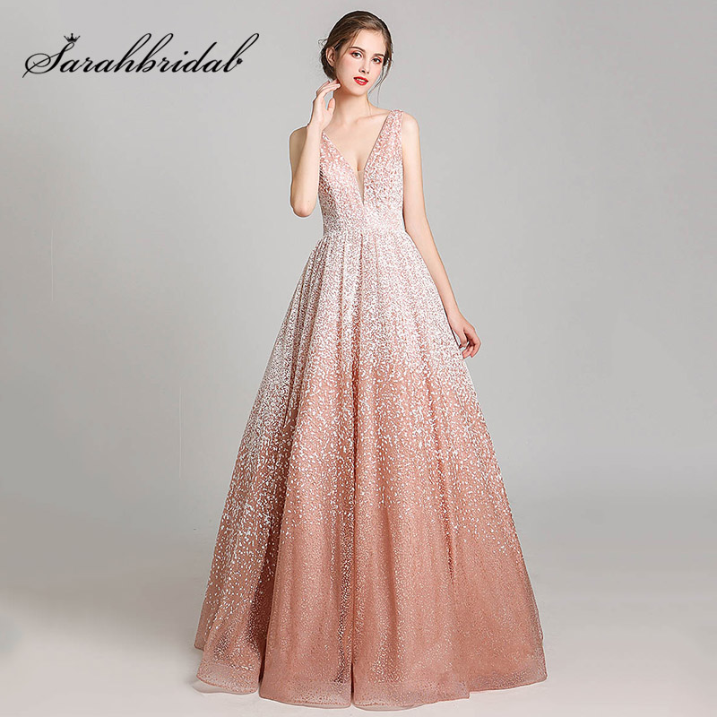 Romantic Pink Snow Celebrity Dresses Elegant Ball Gown Red Carpet Dress Long Metal Spraying Fabric Evening Party Gowns L5550