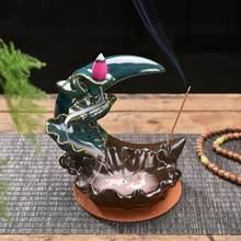 Peixe backflow queimador de incenso meditação presentes casa chá escritório decoração da casa chinês titular do incenso zen budista artesanato ornamentos