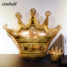 1pc Large 39inch Gold Crown Foil Balloons Prince Princess Baby Shower 20 1st Birthday coroa Party Balon Decorations adult globos(China)