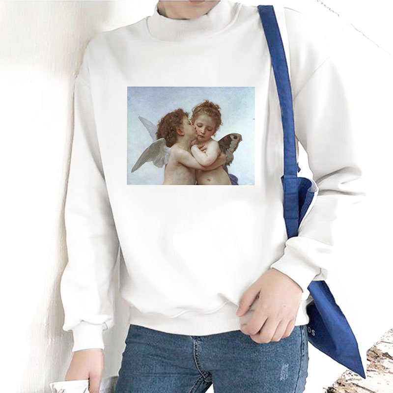 Kpop Angel Michelangelo Van Gogh Print Women Hoodie Fashion Casual Harajuku White Long Sleeved O Neck Pullover Sweatshirt Female
