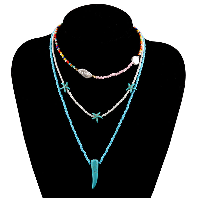 Wishspace leisure sand storm Bohemia glass bead multilayer pearl necklace sea star turquoise necklaces jewelry fashion woman
