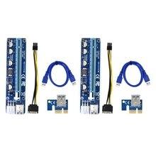 NEW-VER 008C Molex 6 Pin PCIE PCI-E PCI Express yükseltici kart 1X to 16X genişletici 60cm USB 3.0 kablo madencilik Bitcoin madenci için
