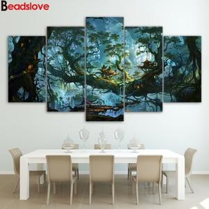 5 шт. 5d алмазная картина diy, фантастические дома, волшебный лес, ночь, алмазная картина, полный квадрат, круглая Алмазная вышивка