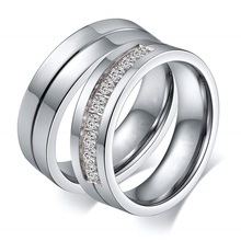 Couple Rings Wedding-Band Stainless-Steel Lovers Gift Silver-Color Fashion Women/men