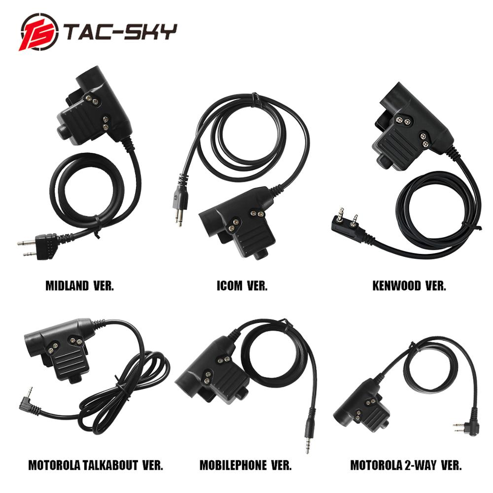 TAC-SKY U94 PTT Tactical PTT Outdoor Hunting Sports Tactical Headset Walkie Talkie Military Radio Headset Adapter PTTU94 PTT