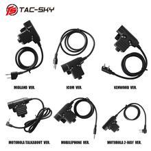 TAC SKY auriculares tácticos para exteriores, dispositivo de audio walkie talkie militar, con adaptador de Radio PTTU94 PTT, Deportes de caza, U94