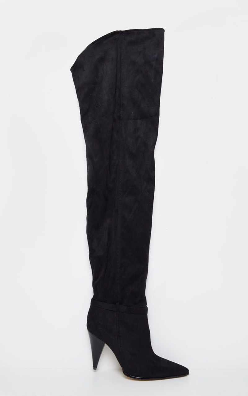 Haut faux daim femmes cuissardes stretch denim mince sexy mode sur le genou bottes hautes femme chaussure talons hauts noir bleu