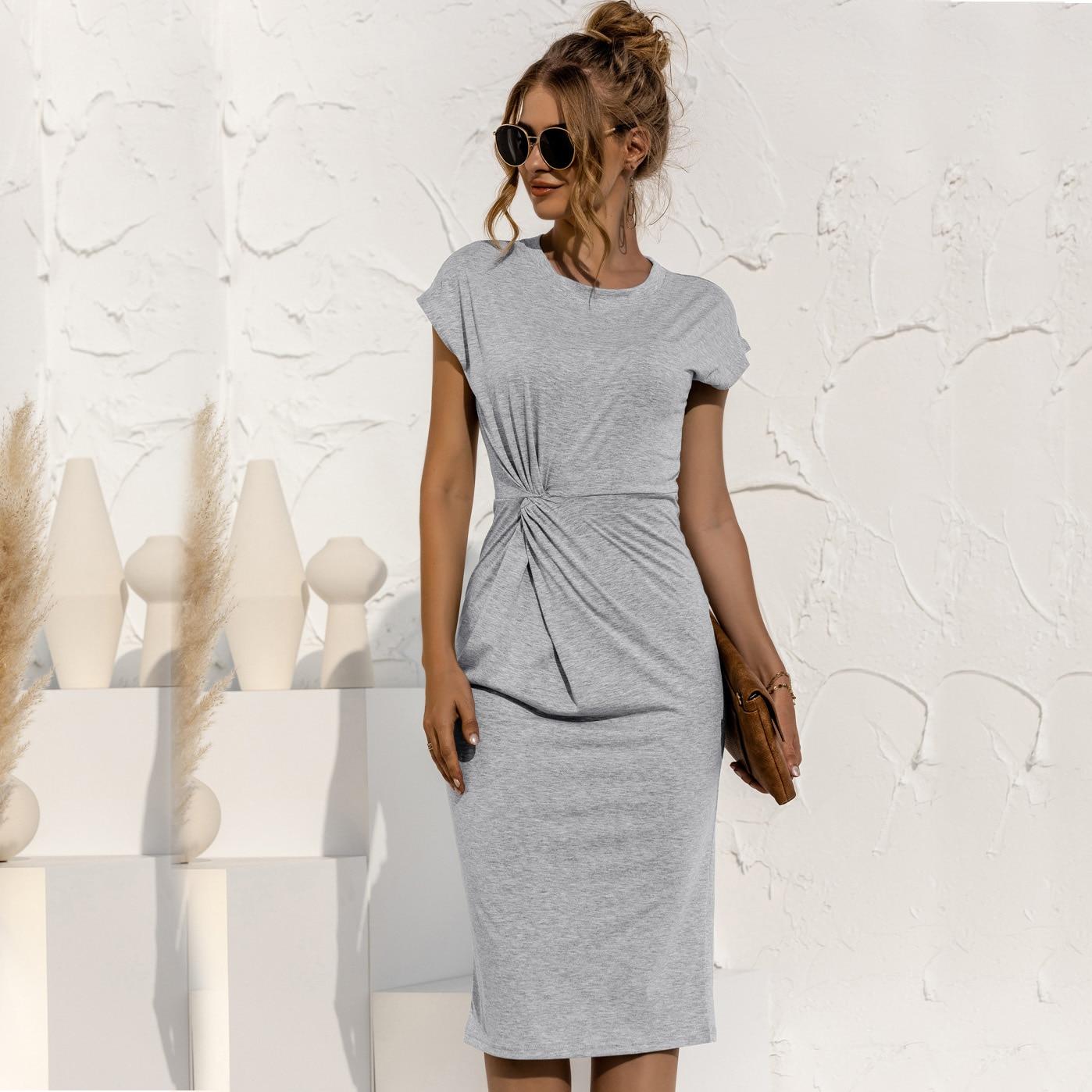 women knitted slim dress 202 summer Trumpet O-Neck short sleeve Empire Waist Slim Solid Straps Mid-calf knitted Dress 10