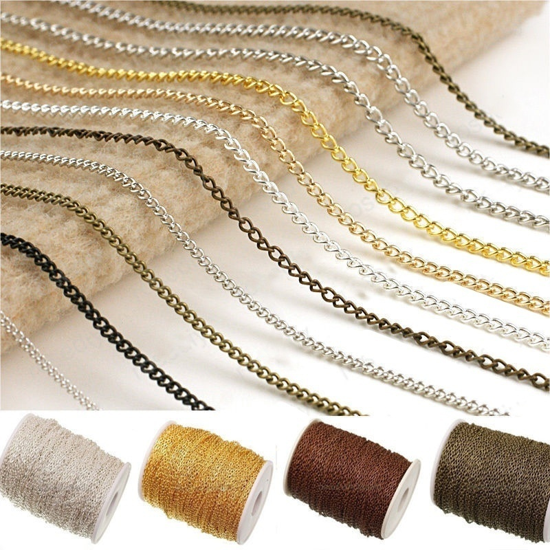 5m DIY Bracelet Necklace Chains Iron Metal Silver Gold Bronze Flat Chain Findings For Jewelry Making Lead & Nickel Free