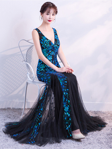 Image 5 - Sleveless Evening Dresses Elegant Mermaid Formal Dress Tull Sequind Prom Gown  Lace Robe De Soriee Long Evening Party Dress