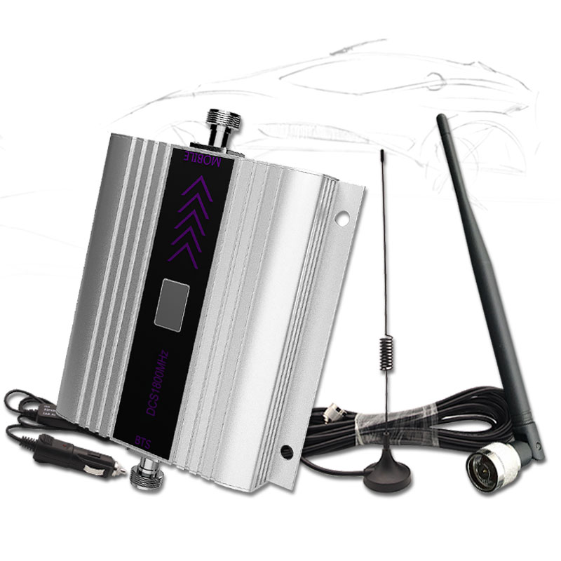 LTE 4G Repeater GSM Cellular Signal Booster 1800MHZ Car Cell Phone 4G Amplifier LCD Display With Whip Antenna For Vehicle Use -