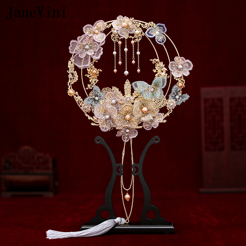 JaneVini 2020 Luxury Chinese Bridal Bouquets Fan Lace Butterfly Flowers Pearls Metal Round Wedding Bride Hand Fans To Cover Face