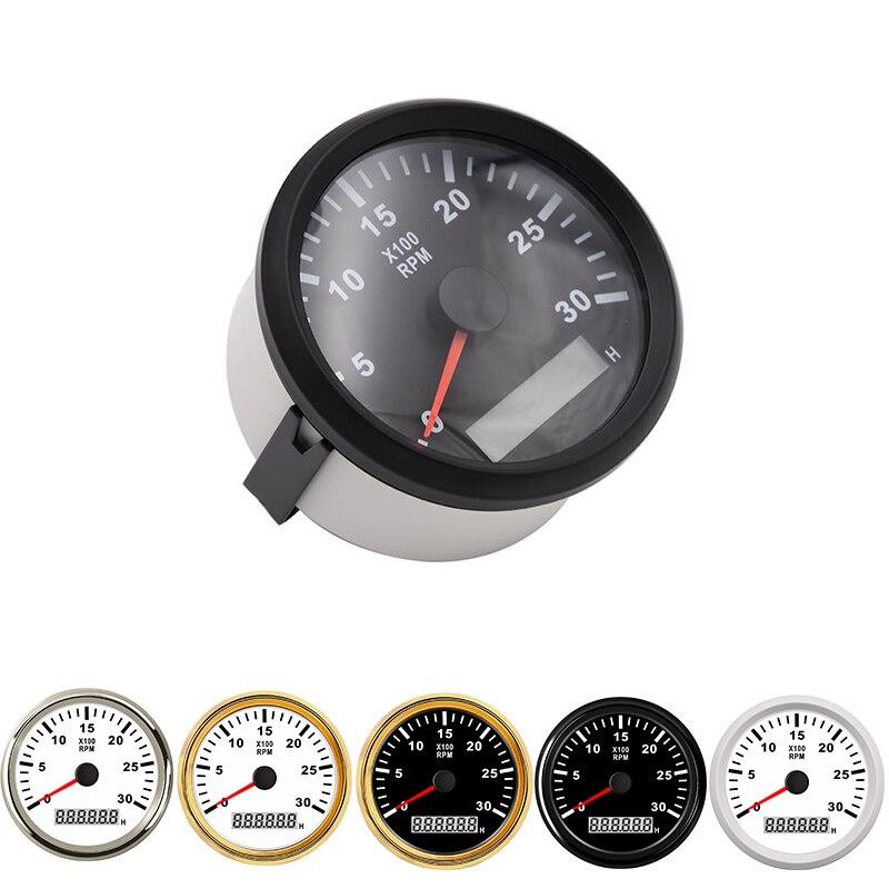 9-32V 0-4000rpm Car Truck RPM Tachometer Gauge LCD Digital Tacho Hour Meter 85mm