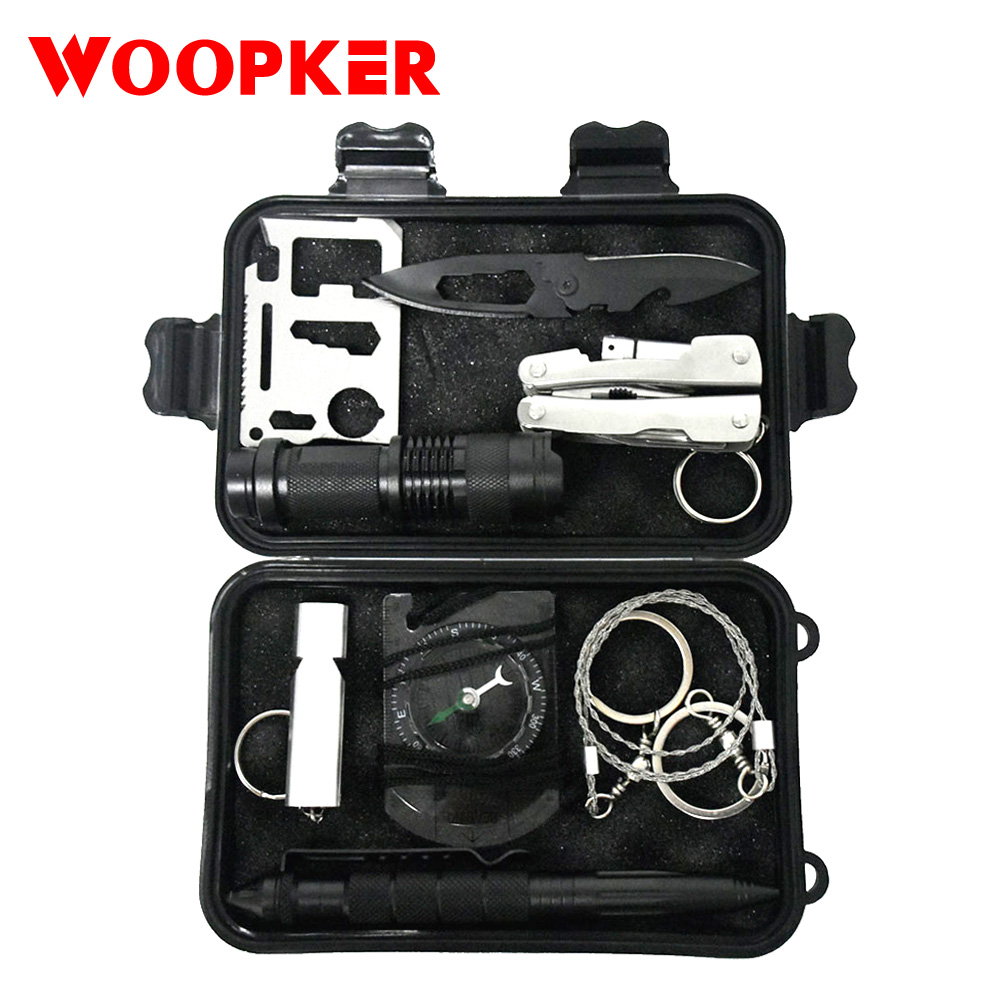 Multifunction 10 In 1 SOS Survival Kit Set EDC Camping Equipment First Aid Emergency Supplies Include Pliers Flashlight Compass