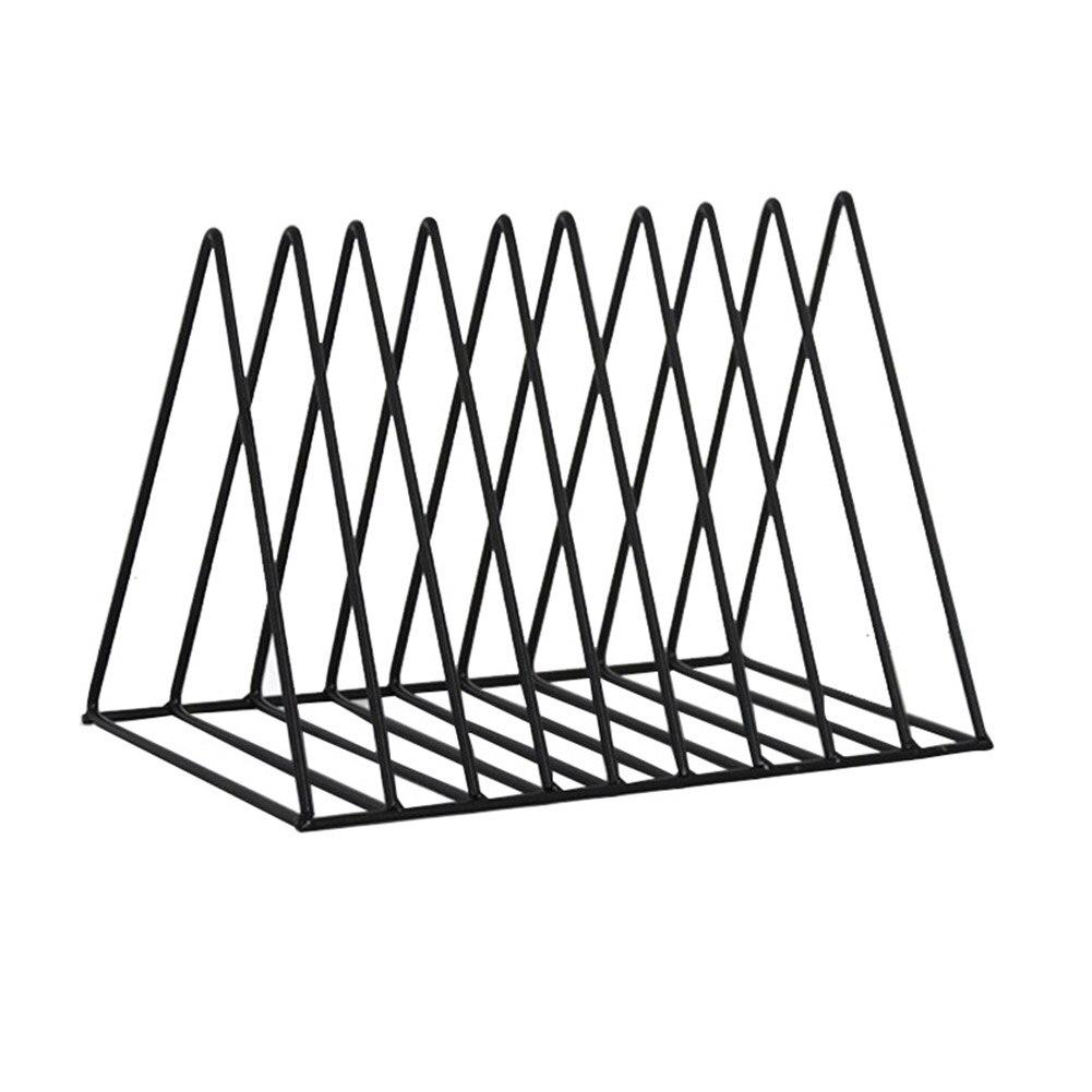 7 Slot Iron Hollow Bookshelf Magazine Holder Desktop File Sorter Organizer Decor GY88