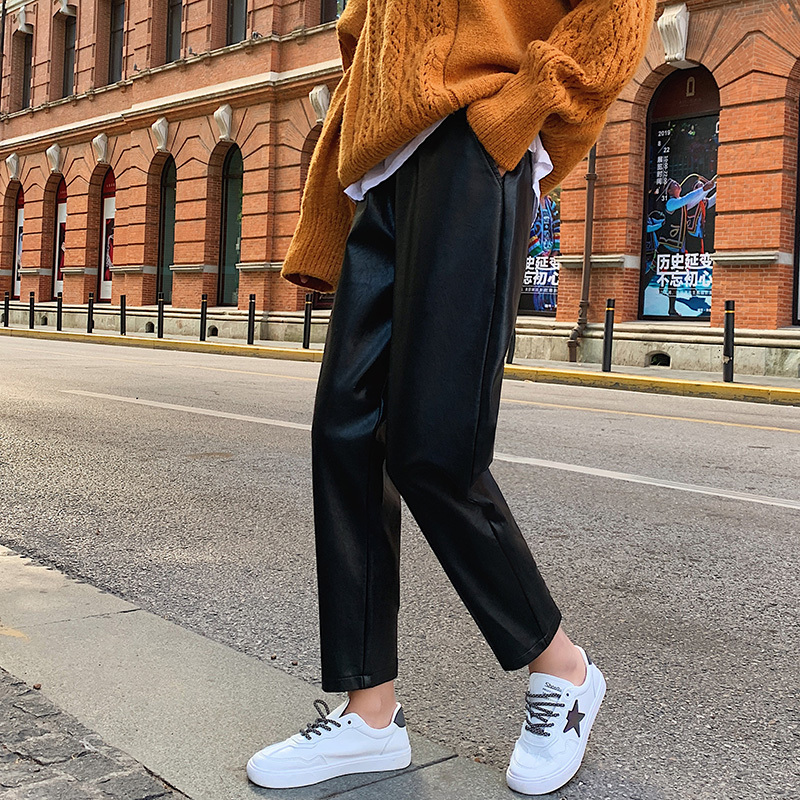 Woman Leather Pants Black Pu Harem Pants 2019 High Waist Ankle-Length Pants Elastic Waist Streetwear