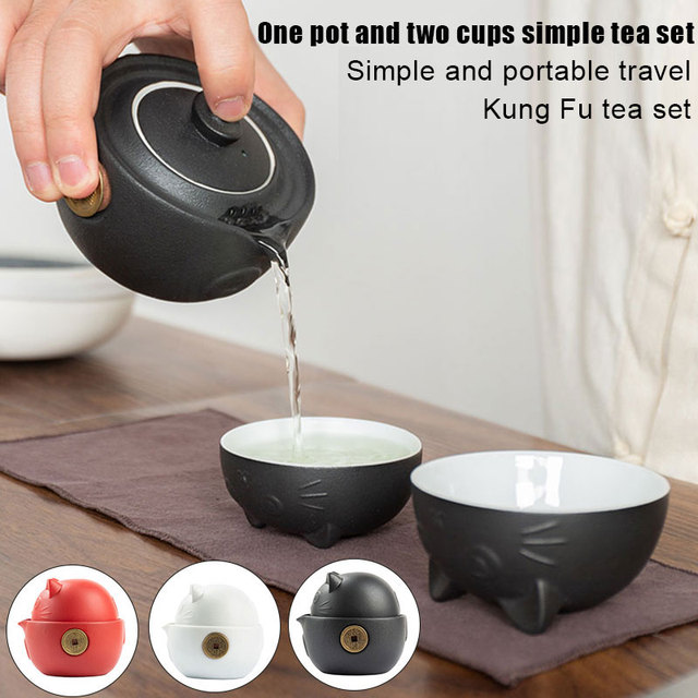 Cat Series Travel Portable Ceramic Tea Set with Tea Pot Tea Cups Travel Bag for Office Home Travel Kitchen,Dining & Bar TB