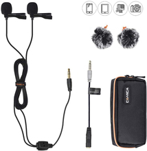 Comica CVM D02 Dual Lavalier Lapel Microphone Clip on interview mic for iPhone Android Smartphone for Sony Canon Nikon Cameras