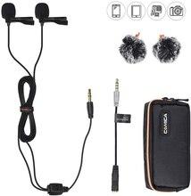 Comica CVM D02 dupla lapela lapela microfone clip on entrevista microfone para iphone android smartphone para sony canon nikon câmeras
