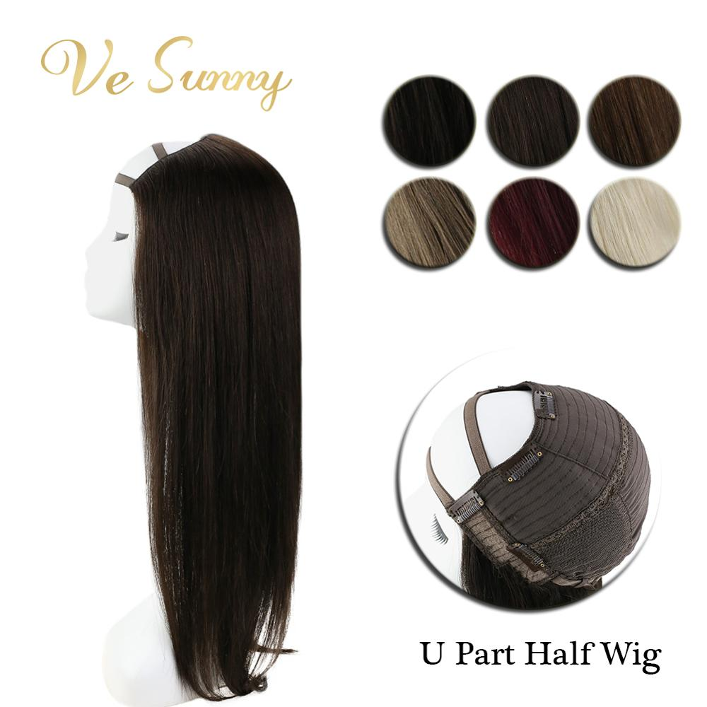 VeSunny One Piece U Part Half Wig 100% Real Human Hair With Clips On Solid Color Black Brown Blonde 12-24 Inches