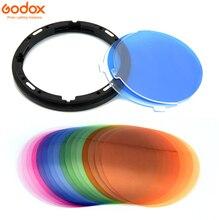 """Godox AK R16 магнитное крепление рассеивающая пластина с V 11T V11T цветной эффект гель набор для Godox V1 серии фотовспышка """"Speedlite"""""""