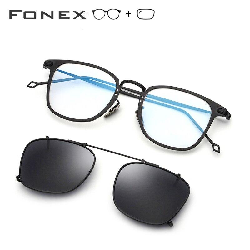 Pure Titanium Prescription Glasses Frame Men Clip On Polarized Sunglasses Sun Glasses For Women Square Myopia Optical Eyewear