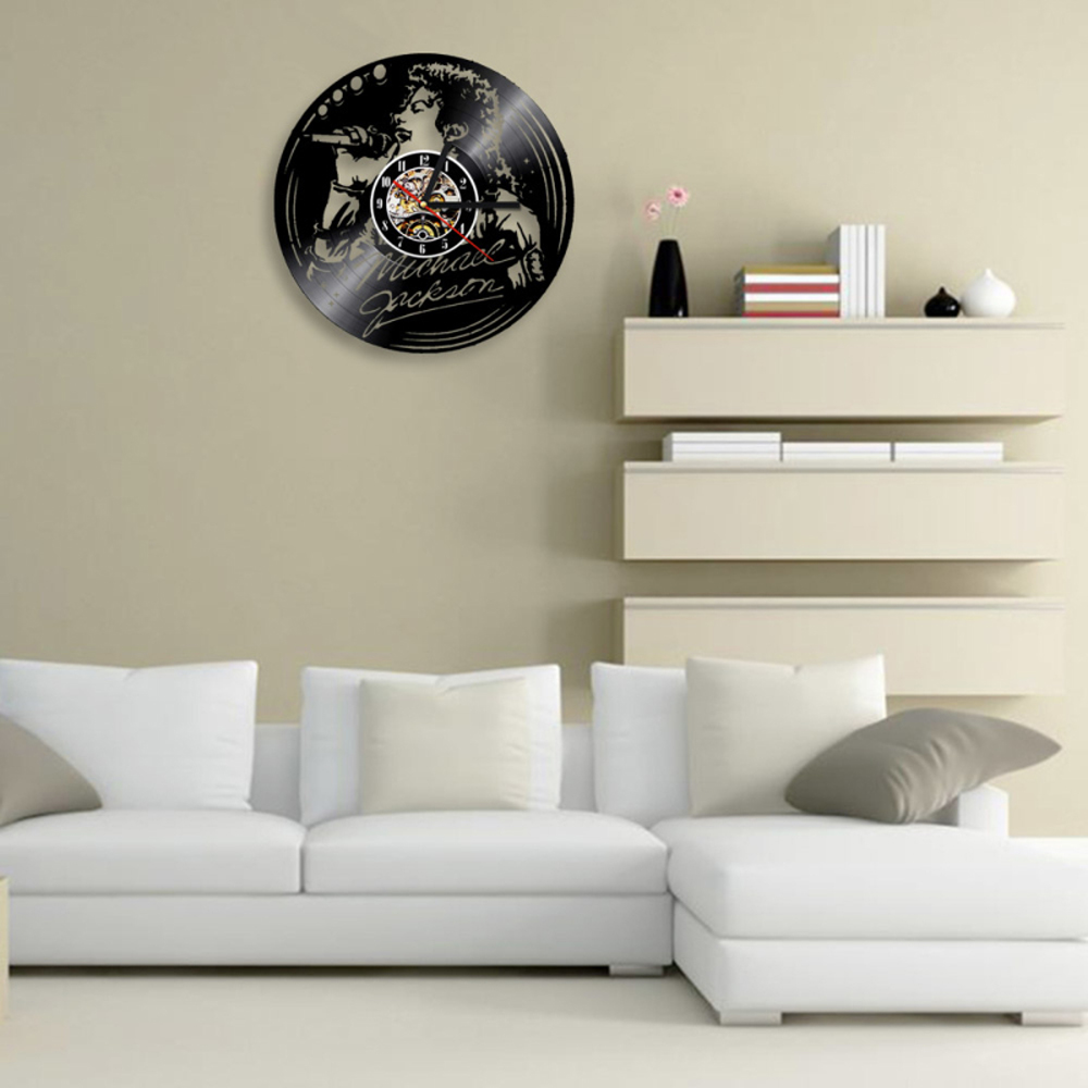 Digital Wall Clock Modern Design Michael Jackson Vinyl Record Wall Clocks Mute Retro 3D Decorative Hanging Watch Art Home Decor