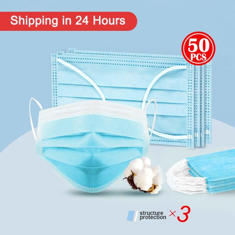 50 Pcs 3-Ply Face Protective Mask Disposable Anti-COVID-19 Anti Coronavirus Virus Face Mask Facial Anti Haze Anti-influenza Mask