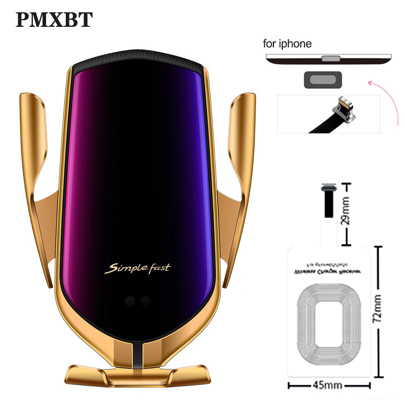 10W Car Wireless Charger Phone Holder For <font><b>iPhone</b></font> 5S <font><b>6</b></font> 6s 7 Plus Samsung S7 Micro USB Type C <font><b>Qi</b></font> Wireless Charger Adapter Receive image