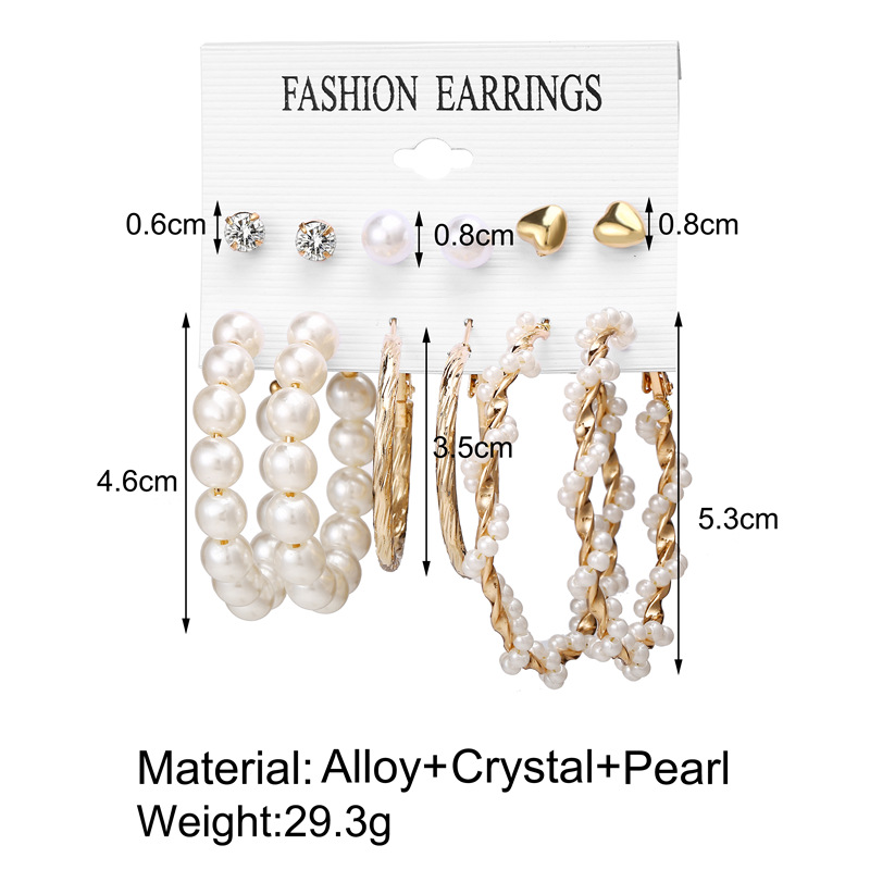 IF ME Fashion Vintage Gold Pearl Round Circle Drop Earrings Set For Women Girl Large Acrylic Tortoise shell Dangle Ear Jewelry 5