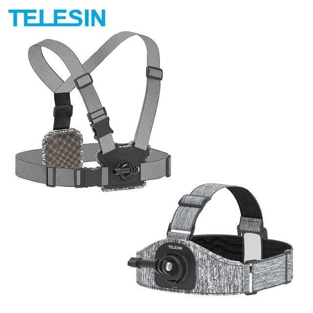 TELESIN حزام صدر للرأس ، حامل مزدوج ، مقاوم للانزلاق ، مرن ، تعديل قوي لـ GoPro 9 8 Osmo ، ملحقات Insta360