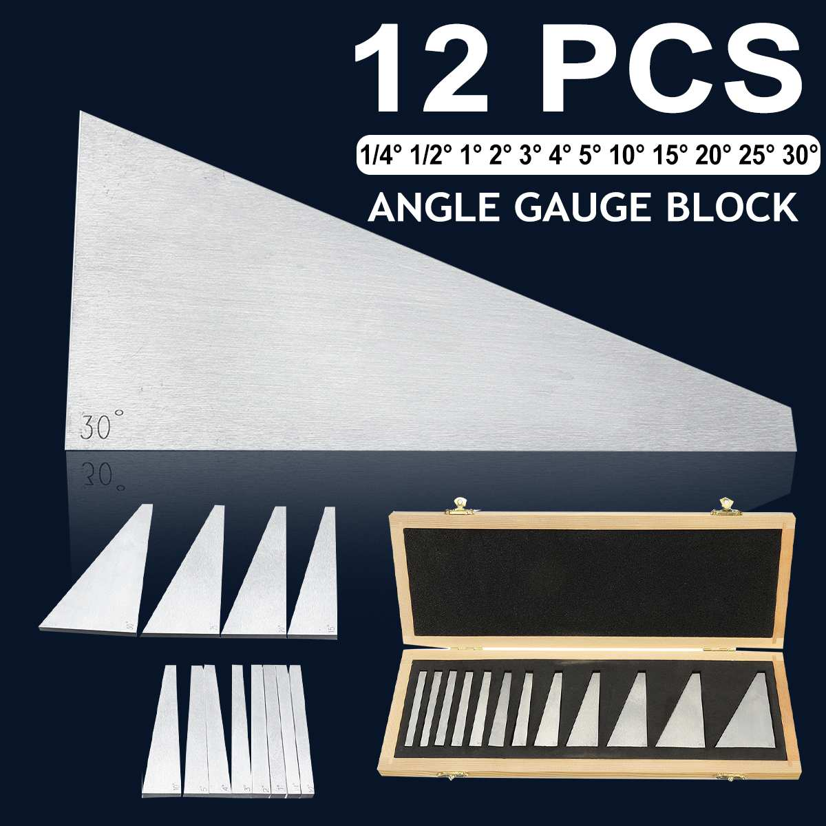 Durable 10/12Pcs Manganese Steel Precision Angle Blocks Set 1/4 To 30 Degree Gauge Milling Machinist Lathe Tools With Box