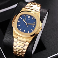 18K Yellow gold mens mechanical watches sapphire glass gray dial stainless steel bracelet sports watch Glide sooth second hand
